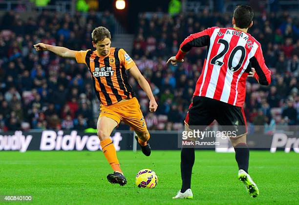 Gaston Ramirez of Hull City scores a goal to level the scores at 11 during the Barclays Premier League match between Sunderland and Hull City at the...