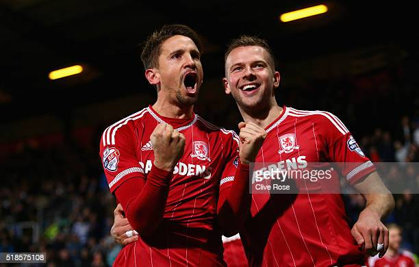 Gaston Ramirez of Middlesbrough celebrates after scoring his side's second goal during the Sky Bet Championship match between Queens Park Rangers and...