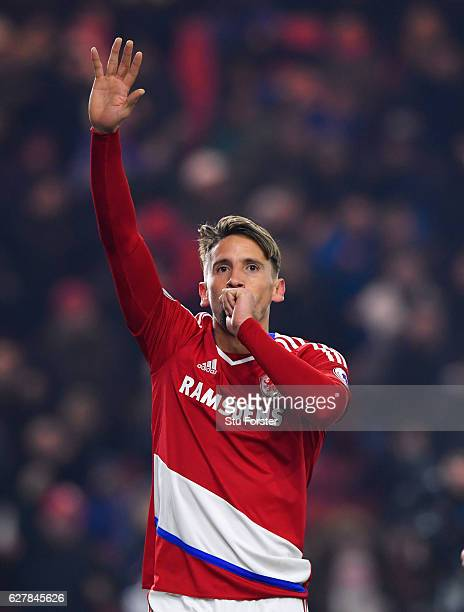 Gaston Ramirez of Middlesbrough celebrates as he scores their first goal during the Premier League match between Middlesbrough and Hull City at...