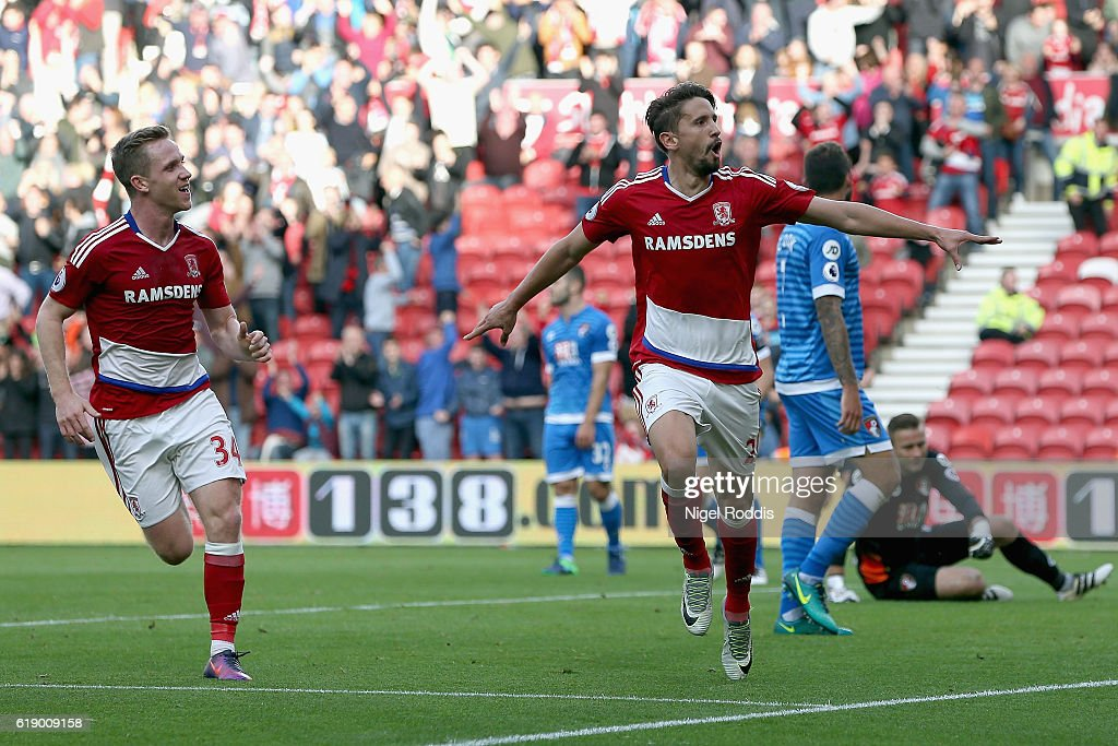 Gaston Ramirez (2nd L) of Middlesbrough celebrates scoring the opening goal during the Premier League match between Middlesbrough and AFC Bournemouth at the Riverside Stadium on October 29, 2016 in Middlesbrough, England.