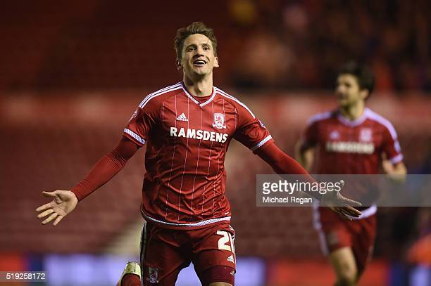 Gaston Ramirez of Middlesbrough celebrates scoring to make it 30 during the Sky Bet Championship match between Middlesbrough and Huddersfield Town on...