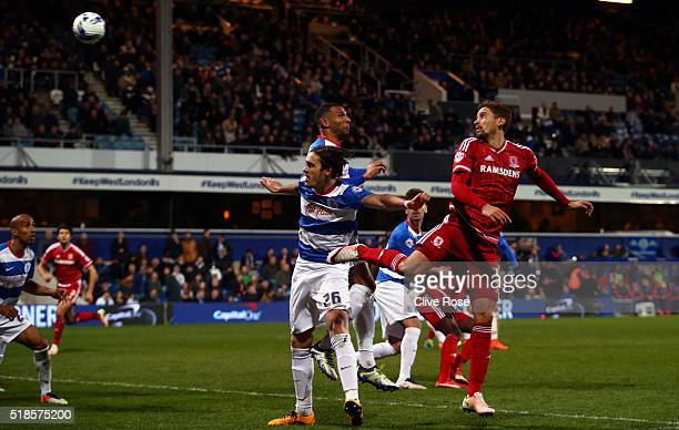 Gaston Ramirez of Middlesbrough heads his side's second goal during the Sky Bet Championship match between Queens Park Rangers and Middlesbrough at...