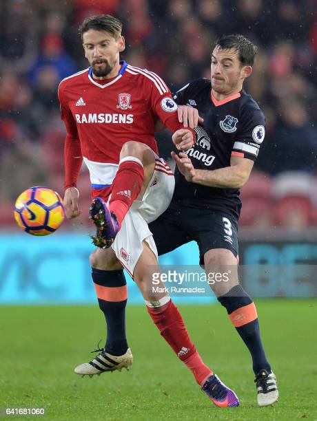 Gaston Ramirez of Middlesbrough is tackled by Leighton Baines of Everton during the Premier League match between Middlesbrough and Everton at...