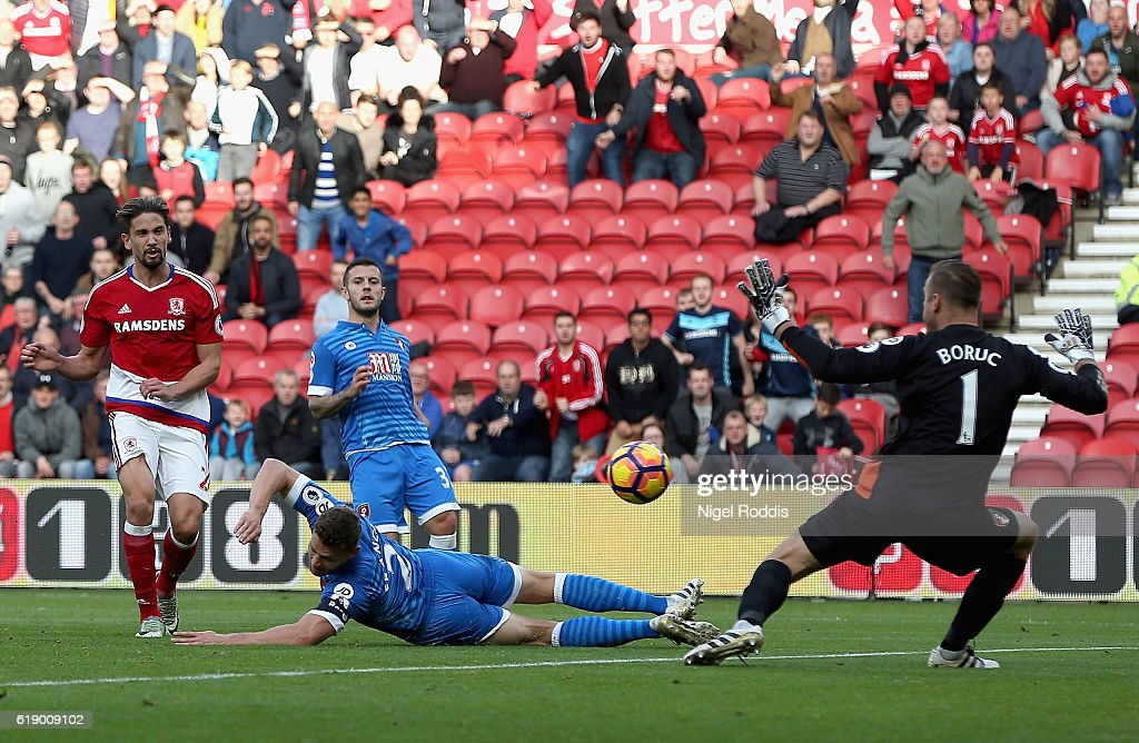 Gaston Ramirez (1st L) of Middlesbrough scores the opening goal during the Premier League match between Middlesbrough and AFC Bournemouth at the Riverside Stadium on October 29, 2016 in Middlesbrough, England.