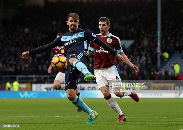 Gaston Ramirez of Middlesbrough shoots goalwards ahead of Jon Flanagan of Burnley during the Premier League match between Burnley and Middlesbrough...