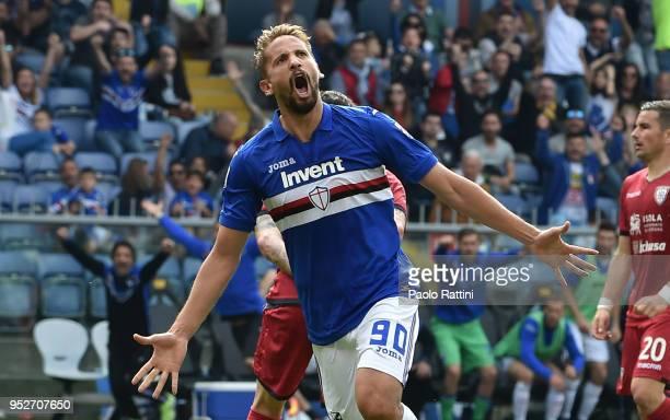 Gaston Ramirez of Sampdoria celebrate after score 41 during the serie A match between UC Sampdoria and Cagliari Calcio at Stadio Luigi Ferraris on...