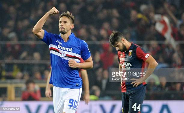 Gaston Ramirez of Sampdoria celebrates after scoring 01 during the Serie A match between Genoa CFC and UC Sampdoria at Stadio Luigi Ferraris on...