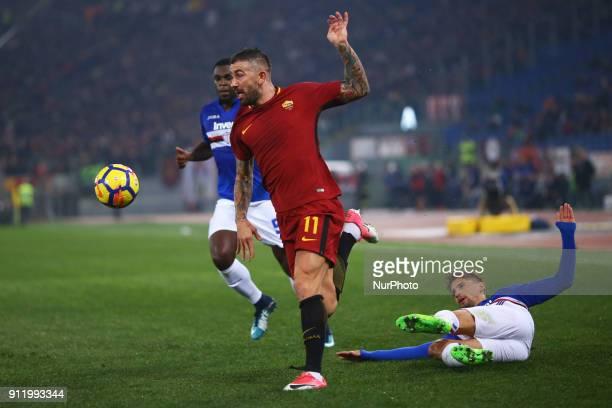 Gaston Ramirez of Sampdoria tackles on Aleksandar Kolarov of Roma during the Italian Serie A football match between AS Roma and Sampdoria at the...