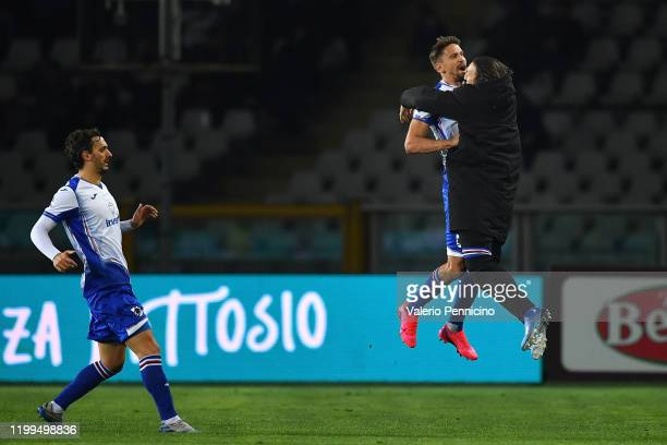 Gaston Ramirez of UC Sampdoria celebrates a goal during the Serie A match between Torino FC and UC Sampdoria at Stadio Olimpico di Torino on February...