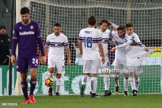 Gaston Ramirez of UC Sampdoria celebrates after scoring a goal during the Tim Cup match between ACF Fiorentina and UC Sampdoria at Stadio Artemio...