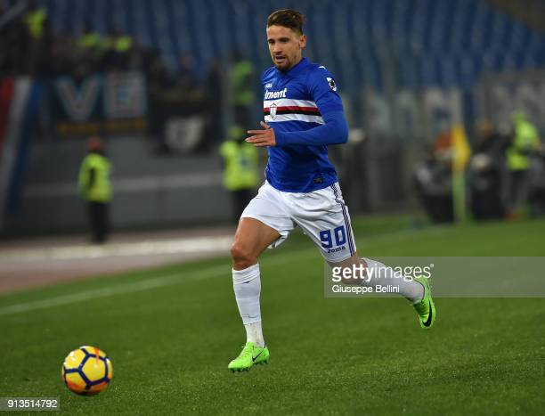 Gaston Ramirez of UC Sampdoria in action during the serie A match between AS Roma and UC Sampdoria at Stadio Olimpico on January 28 2018 in Rome Italy
