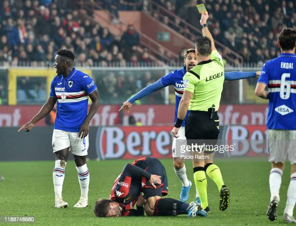 Gaston Ramirez of UC Sampdoria receives a yellow card during the Serie A match between Genoa CFC and UC Sampdoria at Stadio Luigi Ferraris on...