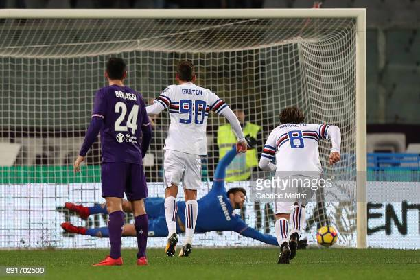 Gaston Ramirez of UC Sampdoria scores a goal during the Tim Cup match between ACF Fiorentina and UC Sampdoria at Stadio Artemio Franchi on December...