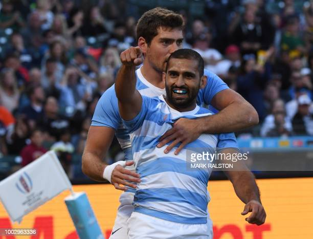 Gaston Revol of Argentina celebrates after scoring a try against Canada during their men's round of 16 game at the Rugby Sevens World Cup in the ATT...