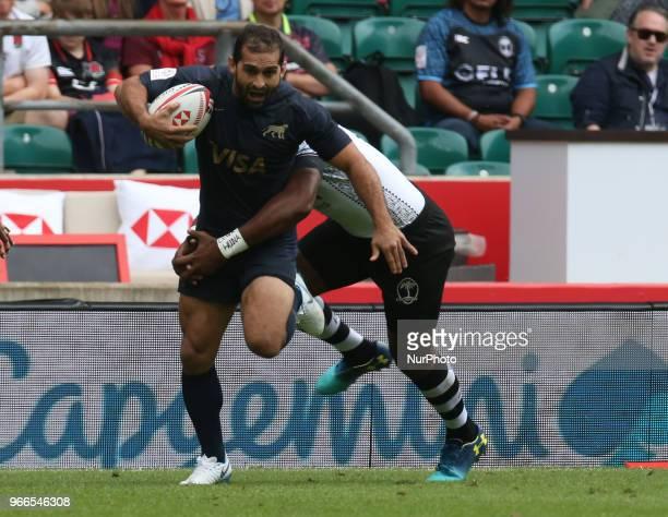 Gaston Revol of Argentina during HSBC World Rugby Sevens Series Pool A match between Fiji against Argentina at Twickenham stadium London on 2 June...