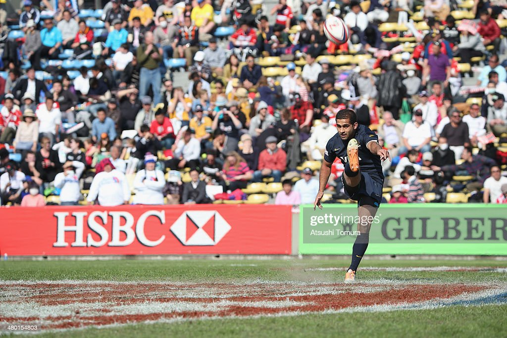 Gaston Revol #10 of Argentina kicks the ball during the Tokyo Sevens, the six round of the HSBC Sevens World Series at the Prince Chichibu Memorial Ground on March 23, 2014 in Tokyo, Japan.