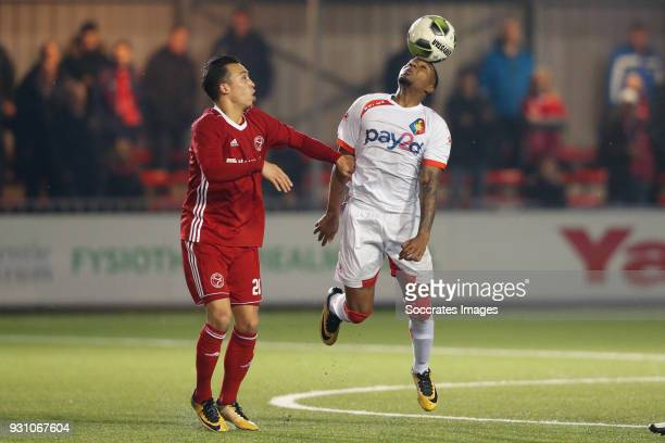 Gaston Salasiwa of Almere City, Shaquill Sno of Telstar during the Dutch Jupiler League match between Almere City v Telstar at the Yanmar Stadium on...