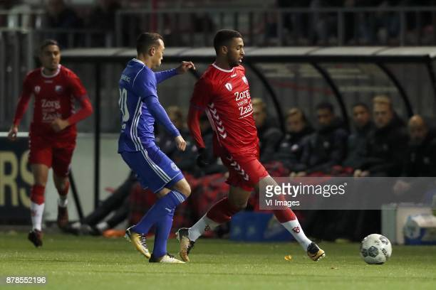 Gaston Salasiwa of Almere City Sylla Sow of Jong FC Utrecht during the Dutch Jupiler League match between Jong FC Utrecht and Almere City FC at the...