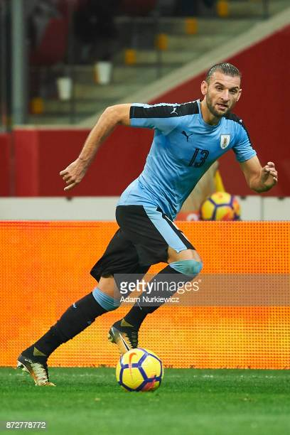 Gaston Silva from Uruguay controls the ball while Poland v Uruguay International Friendly soccer match at National Stadium on November 10 2017 in...