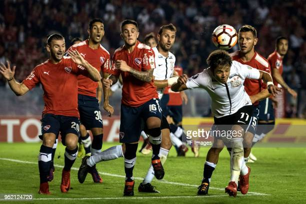 Gaston Silva of Independiente Gonzalo Veron of Independiente Fabricio Bustos of Independiente Henrique Adriano Buss of Corinthians Angel Rodrigo...