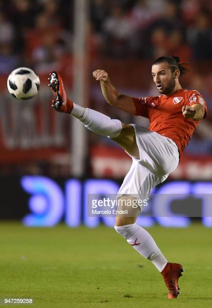 Gaston Silva of Independiente kicks the ball during a match between Independiente and Boca Juniors as part of Superliga 2017/18 on April 15 2018 in...
