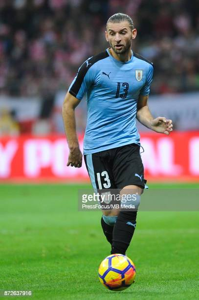 Gaston Silva of Uruguay during the international friendly match between Poland and Uruguay at National Stadium on November 10 2017 in Warsaw Poland