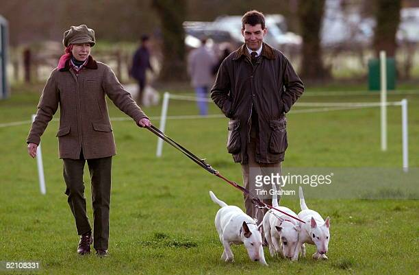 Gatcombe Park Horse Trials At Princess Anne's Home In Gloucestershire Princess Anne Walking Her English Bull Terrier Dogs With Her Is Her Bodyguard...