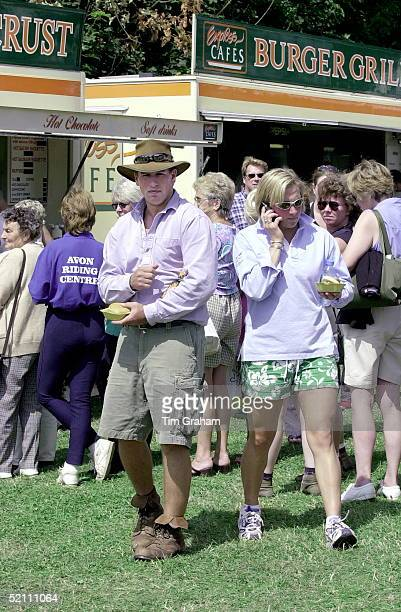 Gatcombe Park Horse Trials At Princess Anne's Home In Gloucestershire Peter Phillips With His Friend Elizabeth Iorio With Burgers From The Burger...