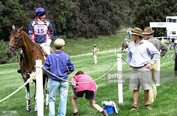 Gatcombe Park Horse Trials At Princess Anne's Home In Gloucestershire Peter Phillips Chats With His Friend Elizabeth Iorio After Her Cross Country...