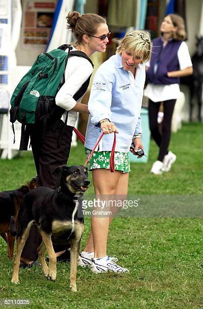 Gatcombe Park Horse Trials In Gloucestershire Elizabeth Iorio Friend Of P_eter Phillips With Her Dog