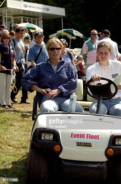 Gatcombe Park Horse Trials In Gloucestershire Zara Phillips Being Driven In A Buggy By A Friend