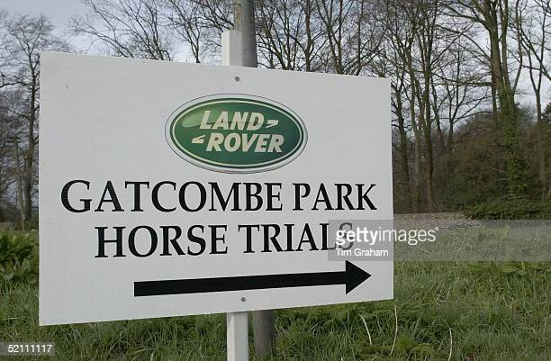 Gatcombe Park Horse Trials Sponsored By Land Rover At Princess Anne's Home Sponsor's Name On Direction Signs Around The Estate At Minchinhampton In...