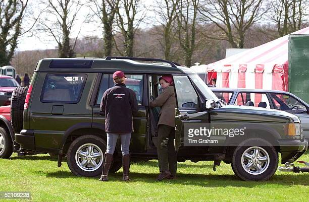 Gatcombe Park Horse Trials Sponsored By Land Rover Princess Anne The Princess Royal At The Door Of Her Land Rover Discovery Four Wheel Drive Vehicle...