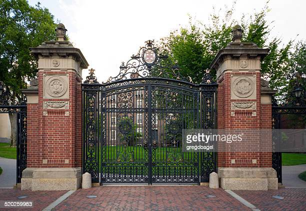 gate at entrance to brown university in providence, rhode island - brown university stock pictures, royalty-free photos & images