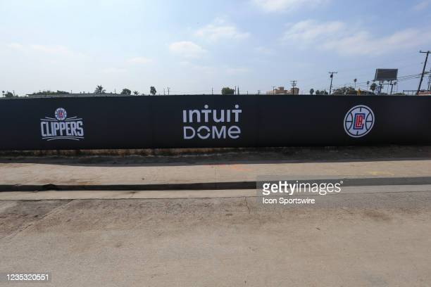Gate banners during the Los Angeles Clippers Ground breaking Ceremony on September 17 at the Intuit Dome site in Inglewood, CA.