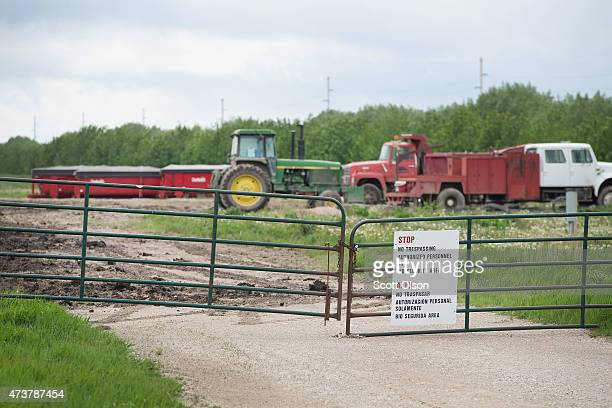 A gate blocks the entrance of a farm operated by Daybreak Foods which has been designated 'bio security area' on May 17 2015 near Eagle Grove Iowa...