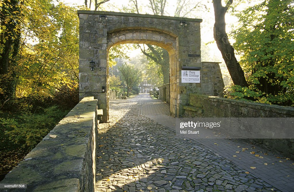 Gate entry castle Wittlage, near Bad Essen, Osnabruecker country, Germany : Stock Photo