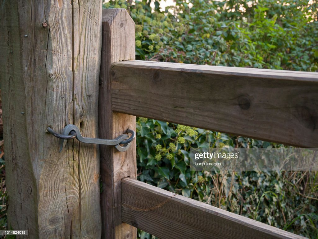 A gate hook keeping a gate shut on the South West Coast Path near Porlock Weir in Exmoor National Park in Somerset : News Photo