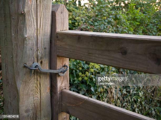 Gate hook keeping a gate shut on the South West Coast Path near Porlock Weir in Exmoor National Park in Somerset.