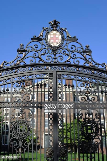 gate in brown university - brown imagens e fotografias de stock