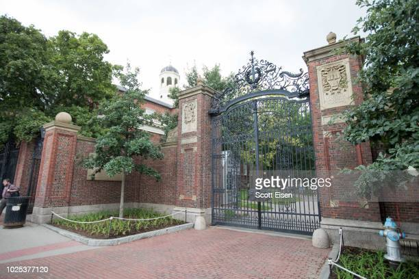 A gate in front of Harvard Yard at Harvard University on August 30 2018 in Cambridge Massachusetts The US Justice Department sided with...