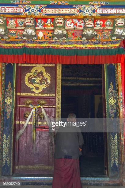 gate in palcho monastery, pelkor chode monastery or shekar in gyantse, tibet, china - chode picture stock photos and pictures