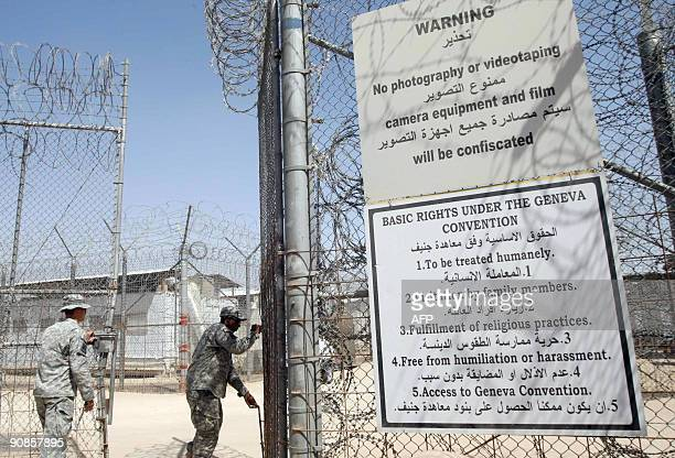 A gate is opened leading into Camp Bucca prison on the outskirts of the southern city of Basra 550 kms from Baghdad on September 16 2009 The USrun...