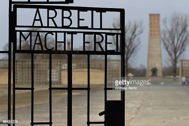 A gate marked with the inscription 'Arbeit Macht Frei' is pictured at the former concentration camp Sachsenhausen on April 13 2010 in Oranienburg...