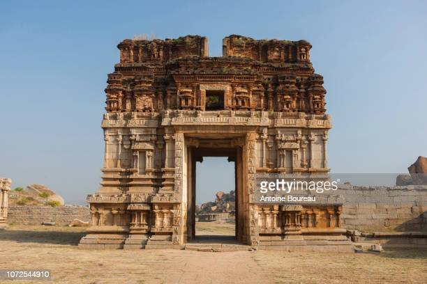 gate of achyutaraya temple in hampi, former capital of vijayanagara kingdom, unesco world heritage site, karnataka, india - karnataka stock pictures, royalty-free photos & images