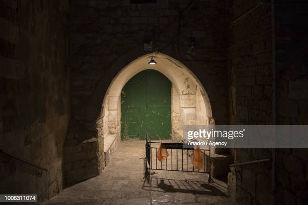 A gate of AlAqsa Mosque is seen closed after Israeli forces closed the gate after clashes erupted between Israeli forces and worshipers on July 27...