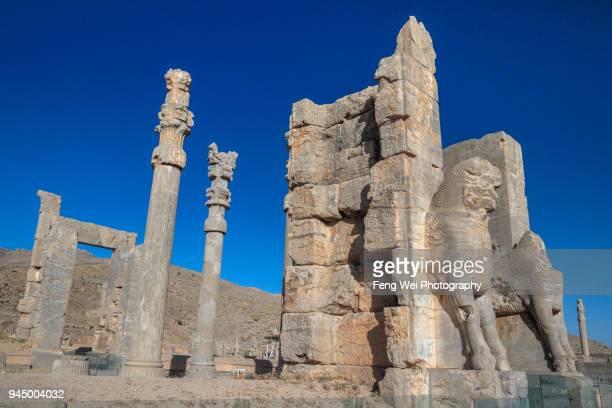 gate of all nations, persepolis, fars province, iran - ペルシア文化 ストックフォトと画像