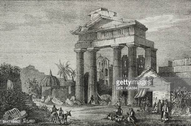Gate of Athena Archegetis Agora of Athens Greece lithograph by Sardi from Poliorama Pittoresco n 33 March 26 1842