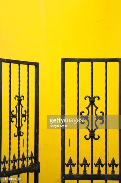 Gate on brightly coloured house in Cape Town