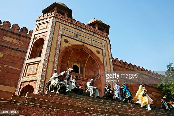 gate - agra jama masjid mosque stock pictures, royalty-free photos & images